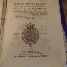 Manuscritos antiguos: (CENSURA LIBROS) REAL PROVISION DE LOS SEÑORES DEL CONSEJO POR LA QUAL SE PROHIBE LA INTRODUCCION. Lote 149992922