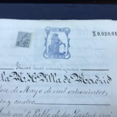 Manuscritos antiguos: FISCAL SELLO PRIMERO 1874. TESTAMENTO, TIMBRES.. Lote 150140690