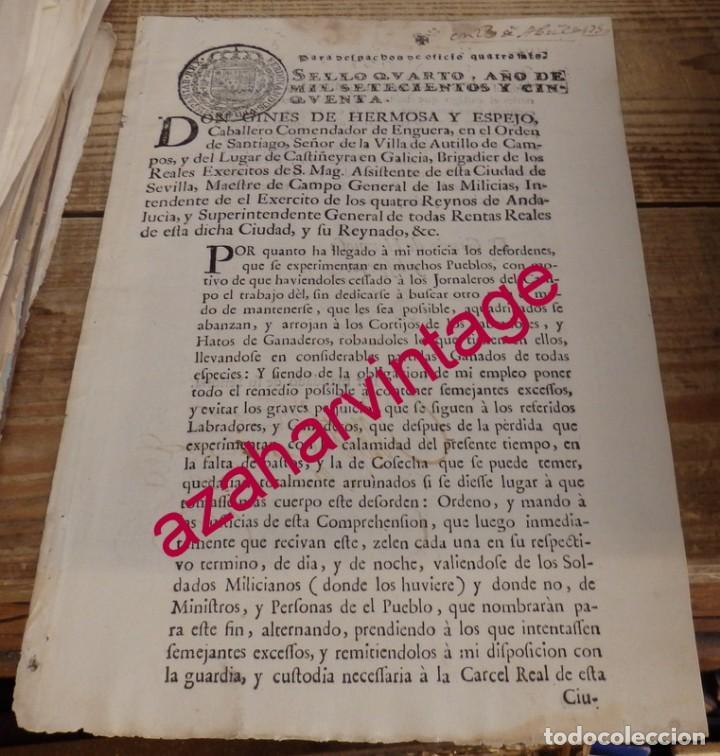 SEVILLA, 1750, ORDEN PARA APREHENDER A JORNALEROS QUE ROBAN EN CORTIJOS, 1 HOJA (Coleccionismo - Documentos - Manuscritos)