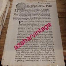 Manuscritos antiguos: SEVILLA, 1750, ORDEN PARA APREHENDER A JORNALEROS QUE ROBAN EN CORTIJOS, 1 HOJA. Lote 150144442