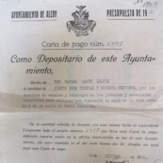 Manuscritos antiguos: ALCOY AYUNTAMIENTO 1936 OCTUBRE. Lote 150615992