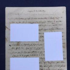 Manuscritos antiguos: GUERRA INDEPENDENCIA. CARTA DE SUCHET FECHADA EN ZARAGOZA 25/VII71809.. Lote 150797174