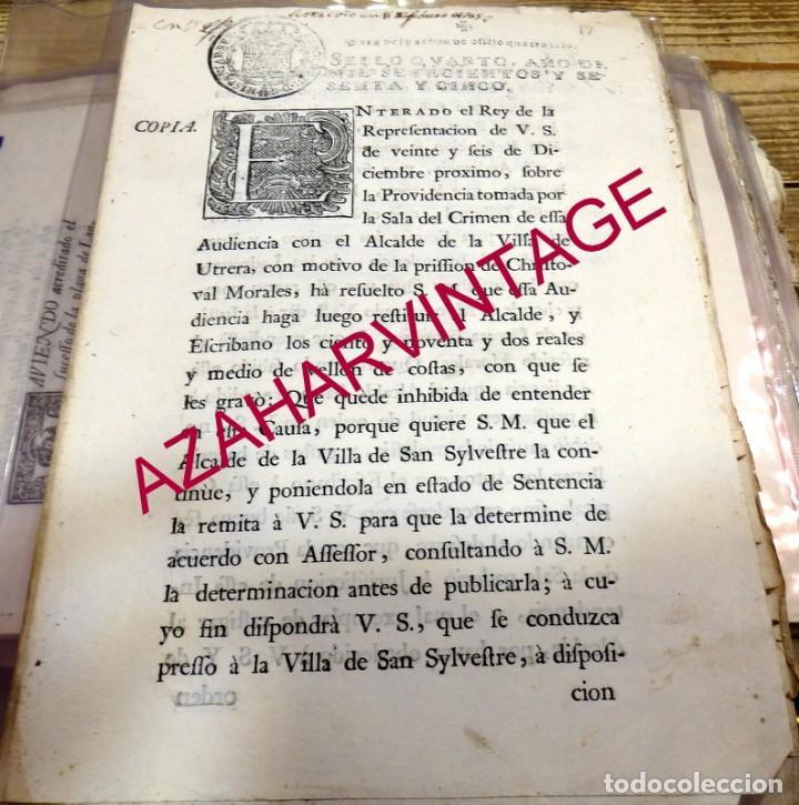 1765, RESOLUCION REINTEGRO DE COSTAS AL ALCALDE DE UTRERA POR TRASPASARSE JURISDICCION (Coleccionismo - Documentos - Manuscritos)