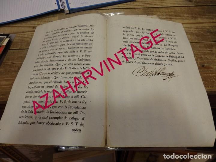 Manuscritos antiguos: 1765, RESOLUCION REINTEGRO DE COSTAS AL ALCALDE DE UTRERA POR TRASPASARSE JURISDICCION - Foto 2 - 151954950