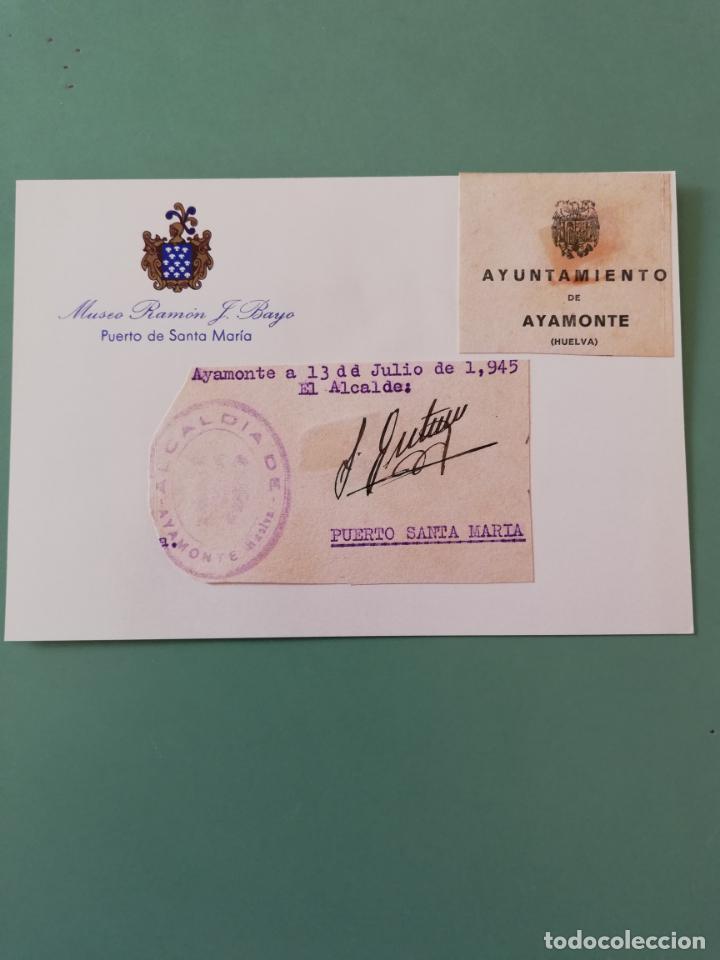 SIGNED. FIRMA DEL ALCALDE DE AYAMONTE. HUELVA. 1945. (Coleccionismo - Documentos - Manuscritos)