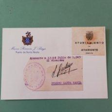 Manuscritos antiguos: SIGNED. FIRMA DEL ALCALDE DE AYAMONTE. HUELVA. 1945. . Lote 152318106