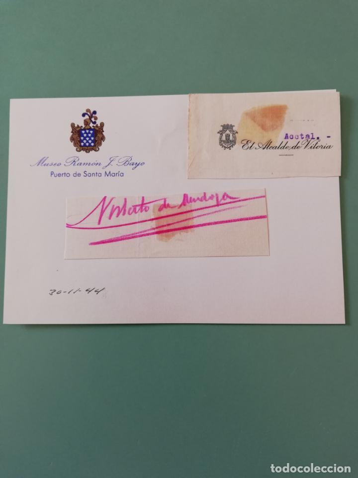 SIGNED. FIRMA DEL ALCALDE DE VITORIA 1944. (Coleccionismo - Documentos - Manuscritos)