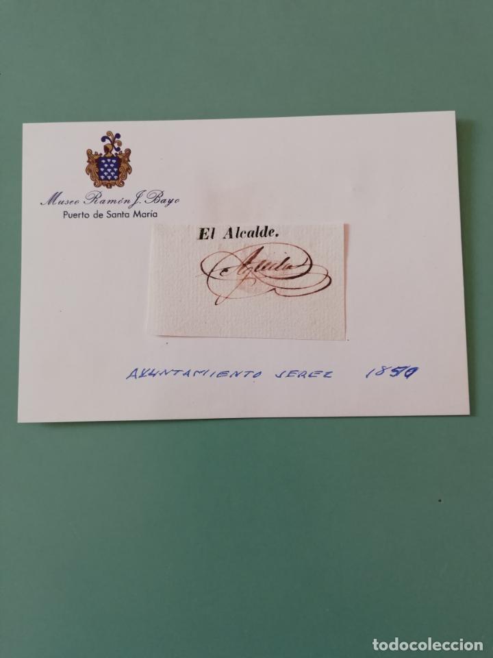 SIGNED. FIRMA DEL ALCALDE DE JEREZ 1850 (Coleccionismo - Documentos - Manuscritos)