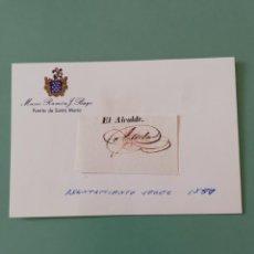 Manuscritos antiguos: SIGNED. FIRMA DEL ALCALDE DE JEREZ 1850. Lote 152319098