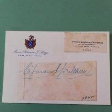 Manuscritos antiguos: SIGNED. FIRMA DE CIPRIANO MONTESINO GUTIERREZ. CÁDIZ. 1945. Lote 152319710