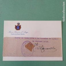 Manuscritos antiguos: SIGNED. FIRMA DEL DELEGADO LOCAL DEL PUERTO DE SANTA MARÍA 9 DE DICIEMBRE DE 1941. . Lote 152321422