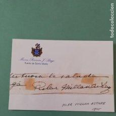 Manuscritos antiguos: SIGNED. FIRMA DE PILAR MILLÁN ASTRAY 1945.. Lote 152322002