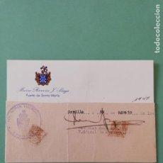 Manuscritos antiguos: SIGNED. FIRMA DE FEDERICO NERGAARO. V. CÓNSUL DE NORUEGA. 1945. Lote 152324170