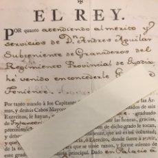 Manuscritos antiguos: CARLOS III CONCEDE GRADO DE TENIENTE DE INFANTERÍA A D. ANDRÉS DE AGUILAR. GUADIX 1783. Lote 152450158