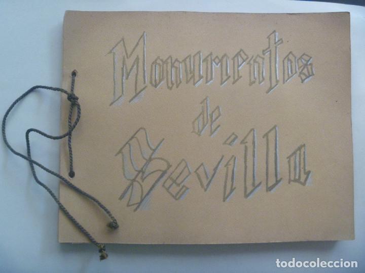 FANTASTICO LIBRO MANUSCRITO ¨ MONUMENTOS DE SEVILLA ¨ , PRINCIPIOS DE SIGLO, CON POSTALES. ARTESANAL (Coleccionismo - Documentos - Manuscritos)