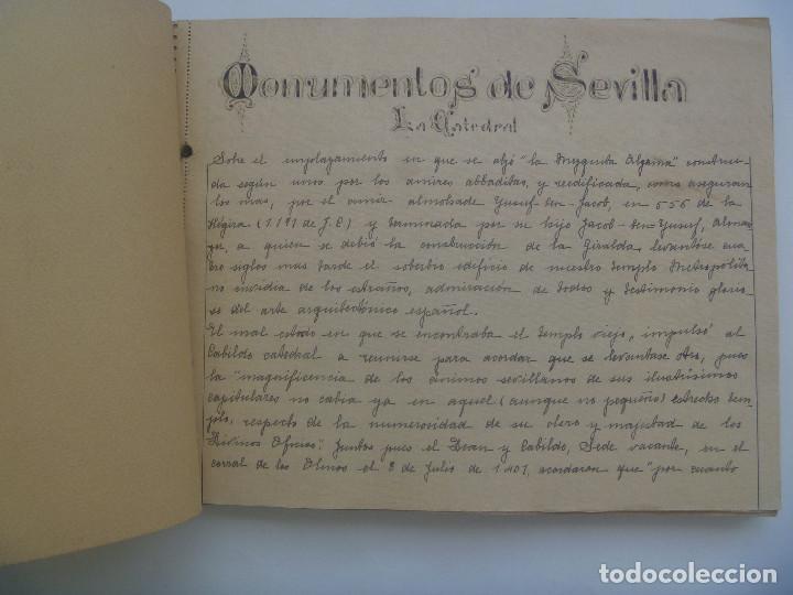 Manuscritos antiguos: FANTASTICO LIBRO MANUSCRITO ¨ MONUMENTOS DE SEVILLA ¨ , PRINCIPIOS DE SIGLO, CON POSTALES. ARTESANAL - Foto 2 - 152618550