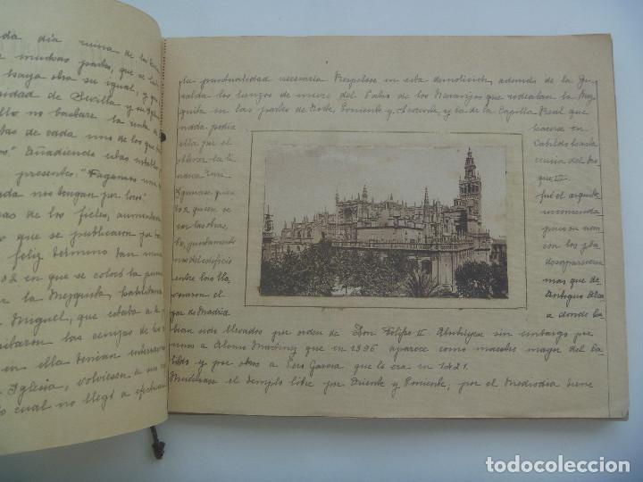 Manuscritos antiguos: FANTASTICO LIBRO MANUSCRITO ¨ MONUMENTOS DE SEVILLA ¨ , PRINCIPIOS DE SIGLO, CON POSTALES. ARTESANAL - Foto 3 - 152618550
