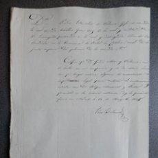 Manuscritos antiguos: FIRMA PEDRO DE VALENCIA JEFE ESCUADRA Y CONDE CASA VALENCIA MANUSCRITO AÑO 1835. Lote 152719650