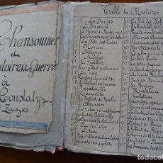 Manuscritos antiguos: MILITAR, ILUSTRADO, CHANSONNIER ET HISTOIRES DE GUERRE AU 2º ZOUAVES, FINES S XIX, 180 PAGS APROX. Lote 153983570