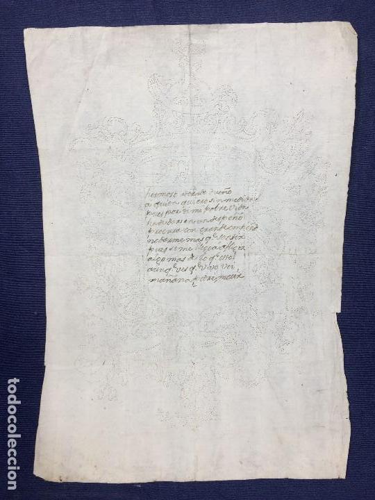 Manuscritos antiguos: POESIA MANUSCRITA TINTA ESCUDO PERFORADO AGUJA CARTA AMOR MITAD S XVIII 29,5X21CMS - Foto 2 - 154267734