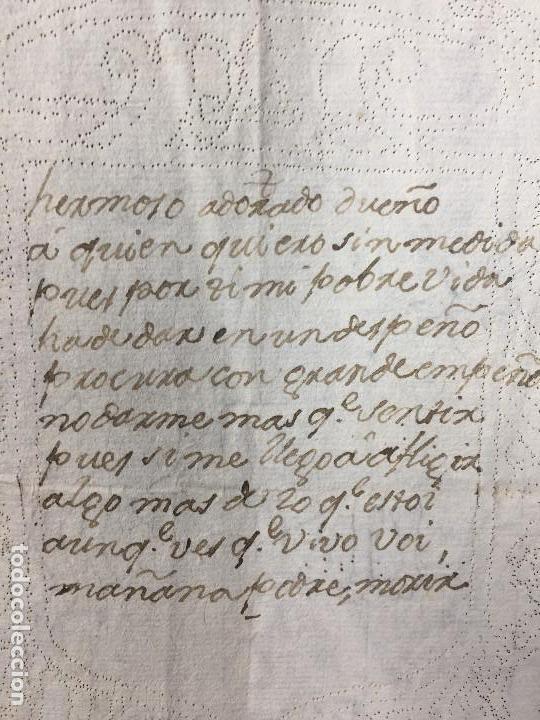 Manuscritos antiguos: POESIA MANUSCRITA TINTA ESCUDO PERFORADO AGUJA CARTA AMOR MITAD S XVIII 29,5X21CMS - Foto 3 - 154267734