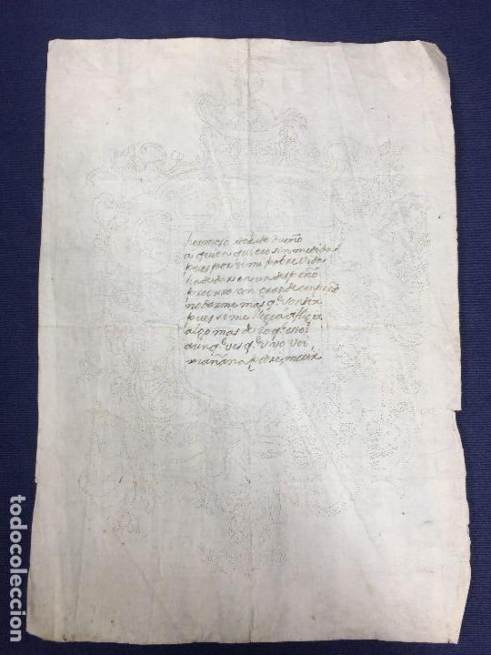 POESIA MANUSCRITA TINTA ESCUDO PERFORADO AGUJA CARTA AMOR MITAD S XVIII 29,5X21CMS (Coleccionismo - Documentos - Manuscritos)