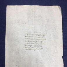 Manuscritos antiguos: POESIA MANUSCRITA TINTA ESCUDO PERFORADO AGUJA CARTA AMOR MITAD S XVIII 29,5X21CMS. Lote 154267734