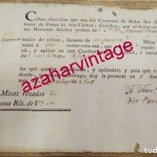 Manuscritos antiguos: SEVILLA, 1810, RECIBO 50 MISAS EN EL COVENTO DE SAN ANTONIO DE PADUA, MUY RARO. Lote 154270830