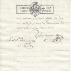 Manuscritos antiguos: 1830. SELLO FISCAL DE OFICIO 4 MARAVEDIS DOCUMENTO PAPEL TIMBRADO. Lote 154311818