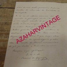 Manuscritos antiguos: CARTA AUTÓGRAFA FIRMADA POR PASCUAL DE GAYANGOS DIRIGIDA A JOSE MARIA ASENCIO Y TOLEDO. Lote 154684126