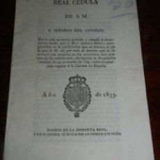 Manuscritos antiguos: 1833, ISABEL II, REAL CEDULA DEROGANDO LA PRAGMATICA SANCION DE 29 DE MARZO DE 1830 SOBRE LA SUCESI. Lote 154940082