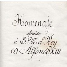 Manuscritos antiguos: * MANUSCRITO * HOMENAJE OFRECIDO A S.M. EL REY D. ALFONSO XIII / BALBINO SALAVERRÍA - 1903. Lote 154963358
