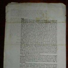 Manuscritos antiguos: 1833 EPOCA DE FERNANDO VII, MINISTERO DE FOMENTO, PROBLEMA CON LAS AGUAS MUERTAS, DEBIDO A LA FALTA . Lote 155238870