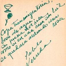 Manuscritos antiguos: COPA TRANSMIGRATORIA. MANUSCRITO ORIGINAL EN TINTA VERDE DE PABLO NERUDA CON DOS DIBUJOS. Lote 155249574