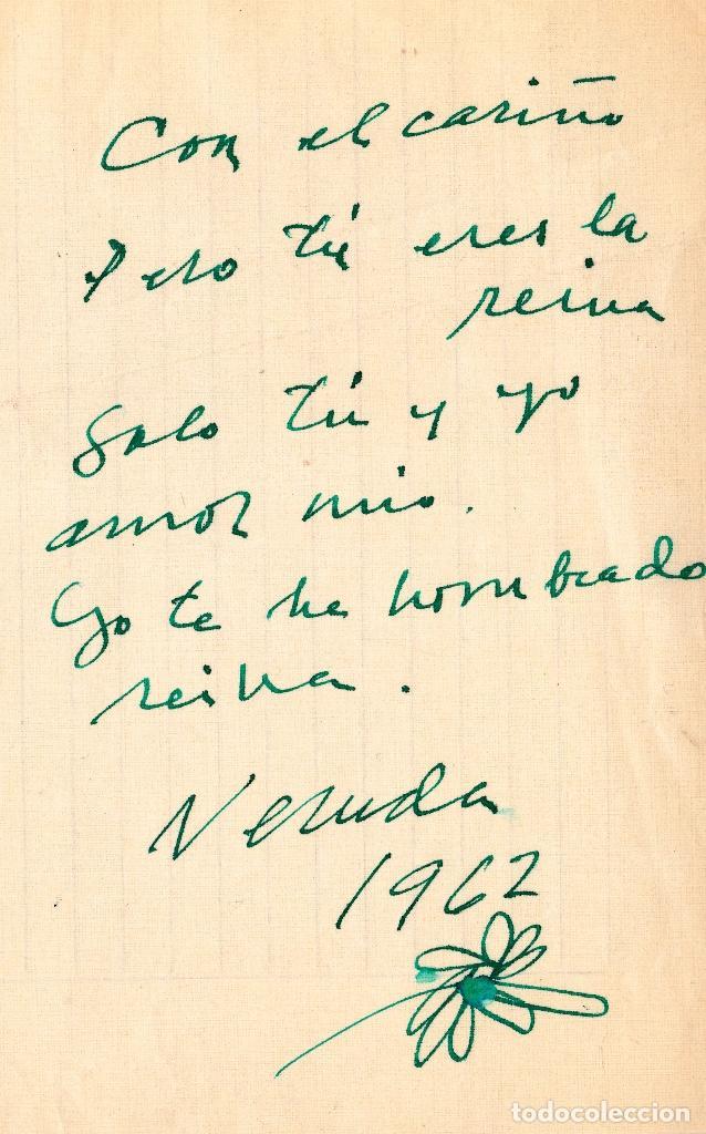 MANUSCRITO Y AUTÓGRAFO AMOROSO DE PABLO NERUDA (Coleccionismo - Documentos - Manuscritos)