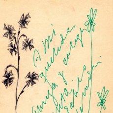 Manuscritos antiguos: DIBUJO FLORES EN TINTA NEGRA Y DEDICATORIA Y FLORES EN TINTA VERDE DE PABLO NERUDA. Lote 155250406
