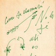 Manuscritos antiguos: DEDICATORIA AMOROSA EN TINTA VERDE Y CON DIBUJOS DE PABLO NERUDA A PATITA. Lote 155251538