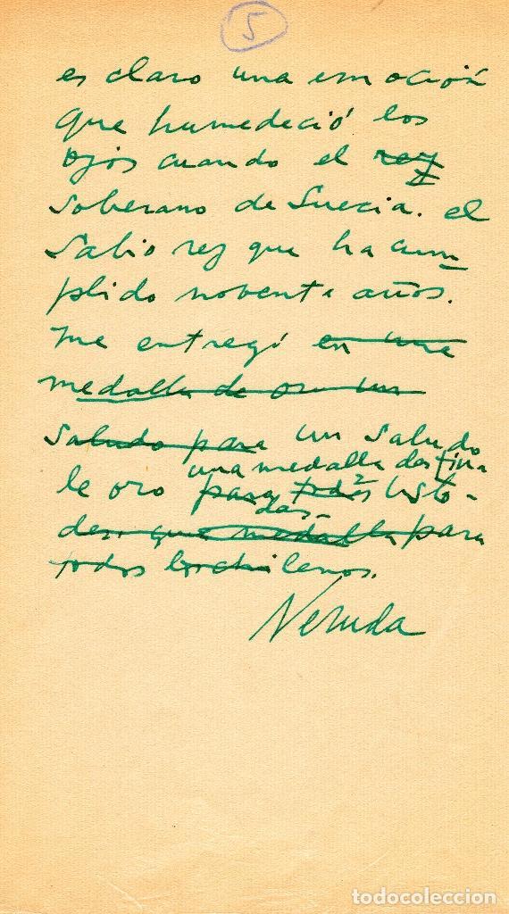 TEXTO INCOMPLETO MANUSCRITO DE PABLO NERUDA HABLANDO DE LA ENTREGA DEL PREMIO NOBEL (Coleccionismo - Documentos - Manuscritos)