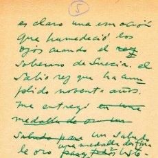 Manuscritos antiguos: TEXTO INCOMPLETO MANUSCRITO DE PABLO NERUDA HABLANDO DE LA ENTREGA DEL PREMIO NOBEL. Lote 155251650