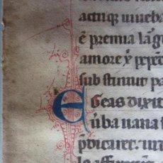 Manuscritos antiguos: 1350C-BREVIARIO ITALIANO SIGLO XIV. HOJA EN PERGAMINO CON PRECIOSAS LETRAS CAPITULARES.ORIGINAL. Lote 155365942