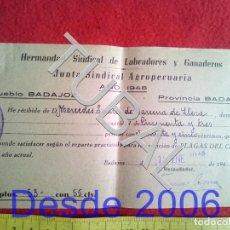 Manuscritos antiguos: TUBAL 1948 BADAJOZ HERMANDAD LABRADORES PLAGAS DEL CAMPO. Lote 155694054