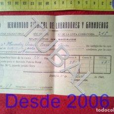 Manuscritos antiguos: TUBAL 1948 BADAJOZ HERMANDAD SINDICAL LABRADORES . Lote 155694226