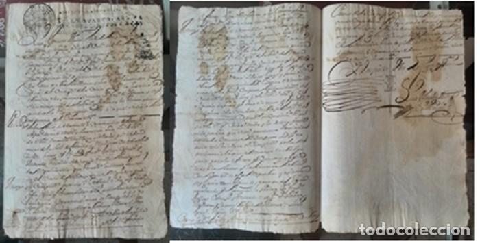 Manuscritos antiguos: Cartera de piel con documentos y grabados siglo 19 - Foto 3 - 155790698