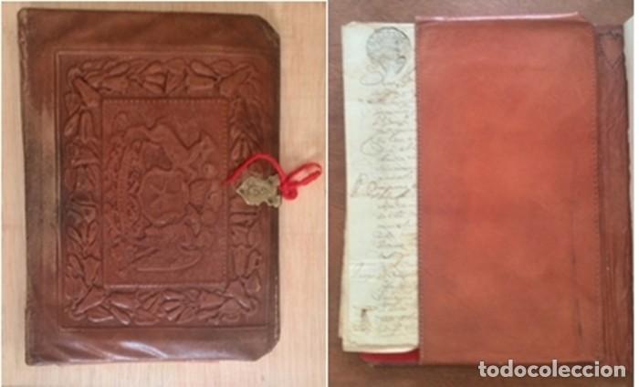 Manuscritos antiguos: Cartera de piel con documentos y grabados siglo 19 - Foto 4 - 155790698