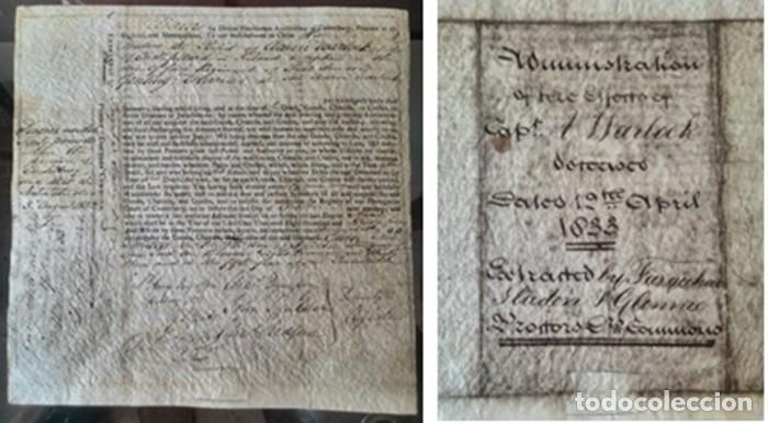 Manuscritos antiguos: Cartera de piel con documentos y grabados siglo 19 - Foto 11 - 155790698