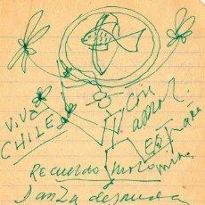 Manuscritos antiguos: DIBUJO Y POEMA MANUSCRITO ORIGINAL E INÉDITO DE PABLO NERUDA. Lote 156147894
