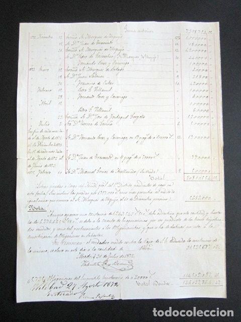 Manuscritos antiguos: AÑO 1872. DUQUE DE OSUNA Y DEL INFANTADO. MADRID. IMPORTE DEUDA FLOTANTE CONTRA DUQUE. DETALLADA. - Foto 3 - 156828098