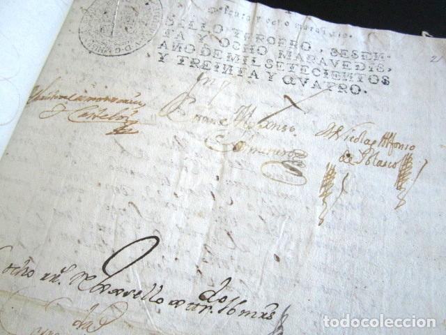 Manuscritos antiguos: AÑO 1734. REAL PROVISIÓN FELIPE V. SELLO SECO Y FIRMA CANCILLER. VALLADOLID. VILLANUEVA SAN MANCIO - Foto 4 - 157206022