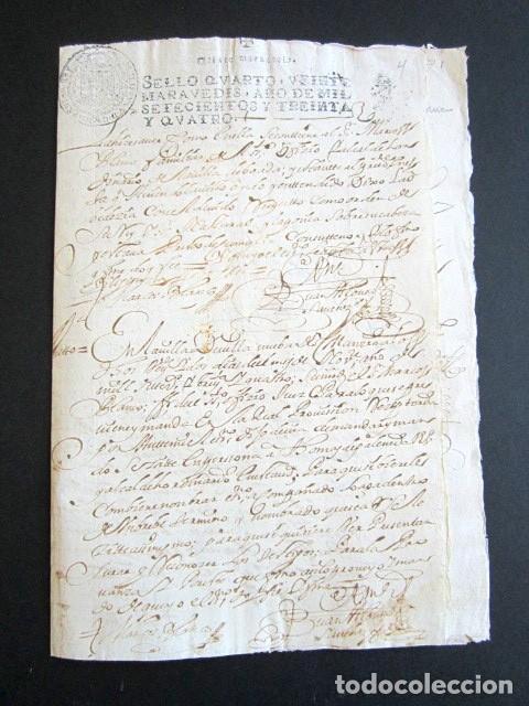 Manuscritos antiguos: AÑO 1734. REAL PROVISIÓN FELIPE V. SELLO SECO Y FIRMA CANCILLER. VALLADOLID. VILLANUEVA SAN MANCIO - Foto 6 - 157206022