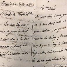 Manuscritos antiguos: CONDE DE FLORIDABLANCA AL MARQUÉS DE VALDECARZANA SOBRE VUELCOS Y ATROPELLAMIENTOS DE COCHES . Lote 157257474
